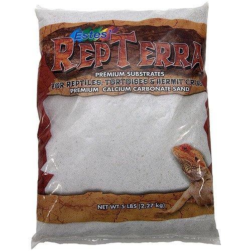 Pet Premium Carbonate Sand, 5 Lbs, White Calcium, W/ Basking Stone