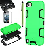 Pandamimi ULAK(TM) Full Protection Hybrid 3 Layer Silicone Armor Hard Inner Case Cover for iPod Touch Generation 5 with Screen Protector and Stylus (Mint Green & Black--silicone outter shell)