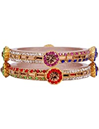 Dulari Multicolor Stone Embellished Cream Lac Round Bangles For Women (Set Of 2 Bangles)