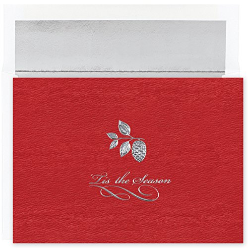 Masterpiece Studios Century Boxed Silver Pinecone on Red Greetings, 16 Cards/Foil Lined Envelopes (M0747MB)