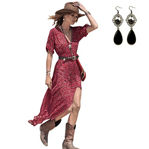 YR-LIN Women's Summer 1/2 Sleeve Floral Print Country Charm Beach Split Dress