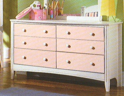 Cheap Kid's Antique White & Pink Storage Dresser (VF_HEB23-5)