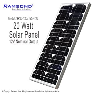 Ramsond® 20 Watt 20W W Solar Panel Module 12V Nominal Output RV Boat Battery Charger Charging Trickle Boat from Ramsond