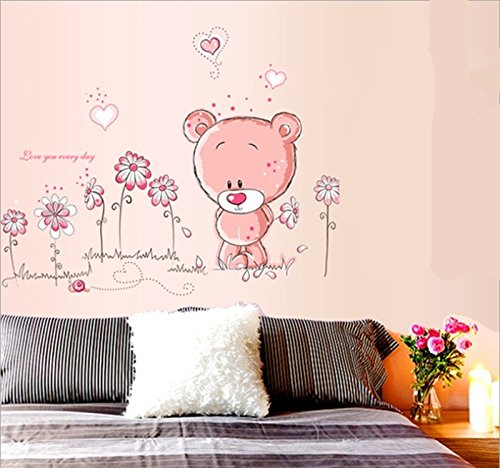 mfeir stickers muraux mural enfants rose ours stickers. Black Bedroom Furniture Sets. Home Design Ideas