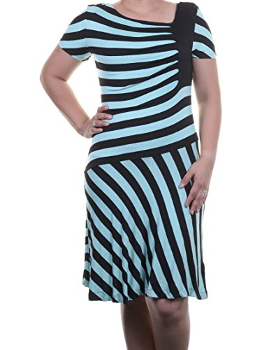 Eci New York New Green-Black Striped Short-Sleeve Fit & Flare Dress L $49