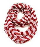 Red & White Chevron Zig Zag Infinity Scarf (Red & White)
