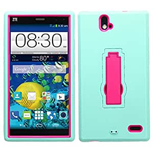 MyBat Asmyna ZTE Z787 Grand X Max Symbiosis Stand Protector Cover - Retail Packaging - Hot Pink/Sky Blue