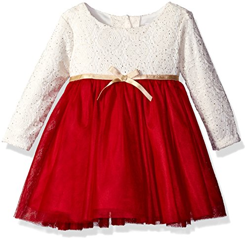 Youngland Baby Girls' Long Sleeve Sparkle Knit Lace Tutu Mesh Dress, Red/White, 24 Months