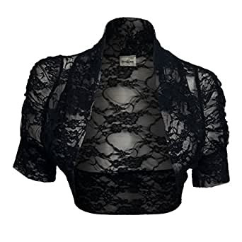 eVogues eVogues Plus Size Floral Lace Bolero Shrug Black - 1X