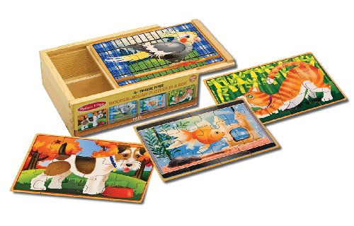 Melissa & Doug Wooden Jigsaw Puzzles in a Box - Pets - 1