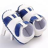 waylongplus bebé Prewalker infantil antideslizante suave de bebé Zapatillas Zapatos azul azul-blanco Talla:11 (3-6 Months)