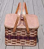 Amish Handmade Square Double Pie Basket w/Inside Tray, Lid, and Two Swinging Carrier Handles IN WINE