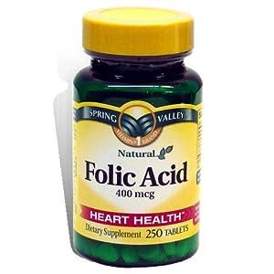 Amazon.com: Spring Valley - Folic Acid 400 mcg, 250 Tablets: Health