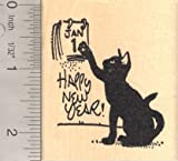 Happy New Year Black Cat Rubber Stamp