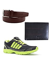 Elligator Stylish Green & Black Sport Shoes With Belt & Wallet For Men's