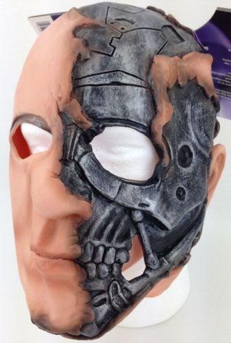 Terminator Salvation T-600 Adult Vinyl Costume Mask Torn Flesh Robot Machine (Horror Flesh Grey Makeup)