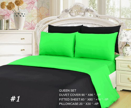 Tache 6 Piece 100% Cotton Lime Green/ Black Reversible Duvet Cover Set, Queen