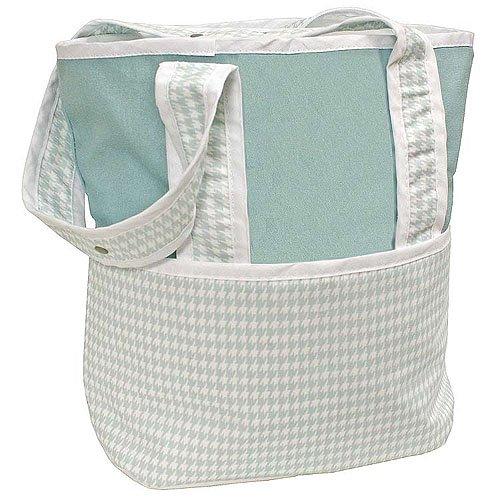 Hoohobbers Tote Diaper Bag, Houndstooth Aqua