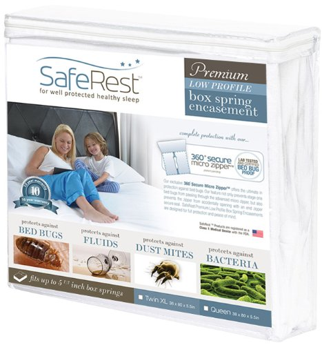 "Saferest Premium Hypoallergenic Waterproof Certified Low Profile Bed Bug Proof Box Spring Encasement 5.5"" - Vinyl Free - Twin Extra Long (Xl) Size"