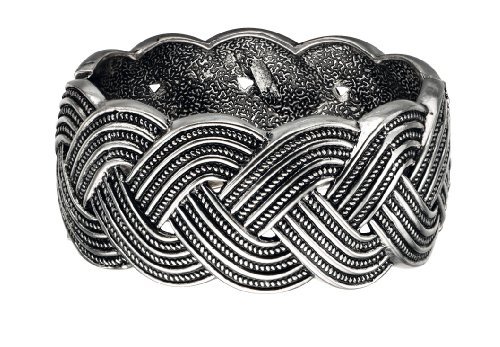 Fiorelli Costume Collection Ladies B4178 Silver Plated Chunky Hinge Bangle