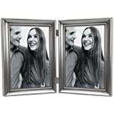Malden Concourse Pewter Metal Frame with 2-Vertical Openings, 5 by 7-Inch