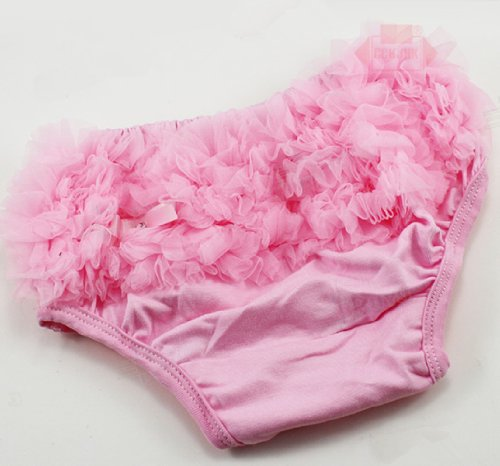 Pretty Ruffled Ruffle Baby Kids Girl Diaper Cover Bloomers Panty (Pink) front-492566