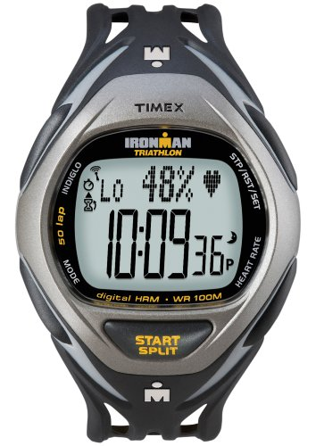 Cheap Timex Ironman Men's Race Trainer Heart Rate Monitor Watch, Black/Grey, Full Size (T5K217F5)