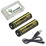 Combo: 2x Nitecore NL1834R USB Rechargeable Battery 340mAh 18650 w/USB Charging Cable +Free Eco-Sensa Battery Case