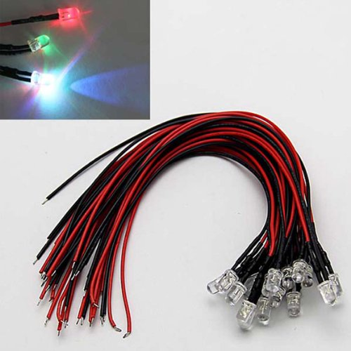 20Pcs 5Mm 7 Different Fast Flashing Colors Pre-Wired Leds 12V