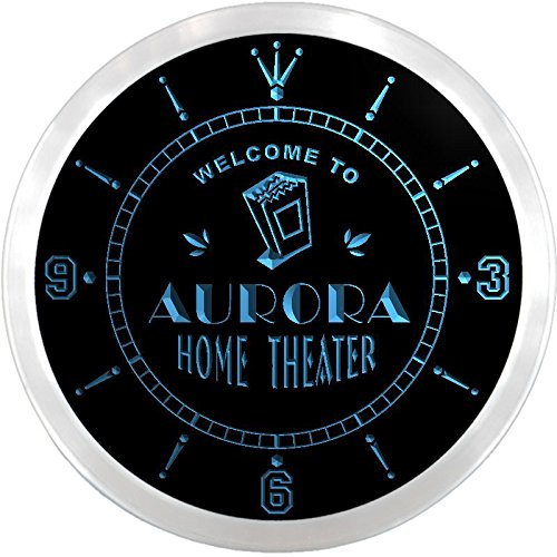 Ncph2162-B Aurora Home Theater Movie Bar Beer Led Neon Sign Wall Clock
