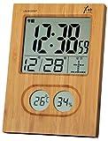 ADESSO(アデッソ) GREEN PRODUCTS 電波デジタル目覚まし時計 竹の電波時計 温度表示 湿度表示 ブラウン 8668