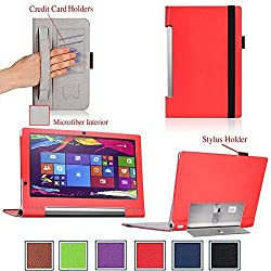 For Lenovo Yoga Tablet 2 PRO 13.3-inch Android Premium QUALITY PU LEATHER FOLIO PROTECTIVE SMART CASE, COVER, STAND with MICROFIBER INNER, STYLUS SLOT, Hand Strap and Credit Cards / ID Holders, Elastic Strap for secure closure! RED.