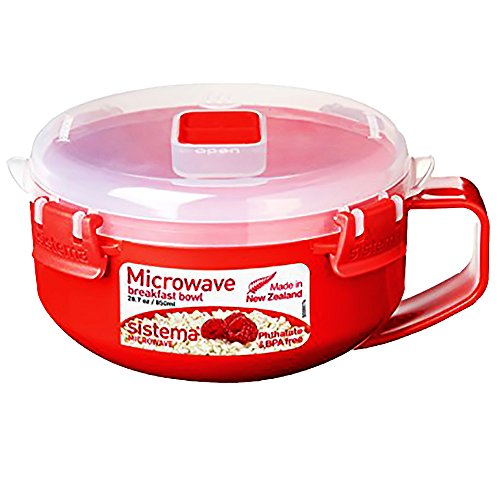Sistema Microwave Cookware Breakfast Bowl, 28 Ounce/ 3.5 Cup, Red (Microwave Rice Glass compare prices)