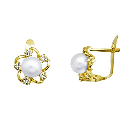 18k gold flower earrings 5.5mm pearl button. 2mm zirconias. [AA5183]