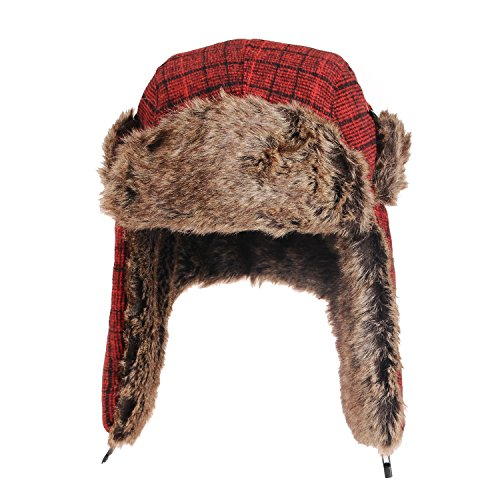 Touch Red Plaid Pilot Aviator Hat Trapper Men And Women front-331959