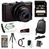 Sony DSC-RX100M II DSC-RX100M2 DSC-RX100MII RX100M2 RX100MII DSC-RX100M II 20.2MP Wi-Fi Digital Camera with F1.8 Carl Zeiss Vario-Sonnar T Lens and Full HD 1080p Video at 60fps + Sony 64GB SDHC Class 10 Memory Card + Wasabi NP-BX1 Battery Pack + Sony Came