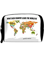 Snoogg Funny World Country Details Travel Buddy Toiletry Bag / Bag Organizer / Vanity Pouch