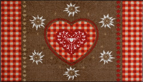 Alpine Heart Bordered Brown / Red Flat Woven Rug Rug Size: 120cm x 75cm (3 ft 11 in x 2 ft 5.5 in)