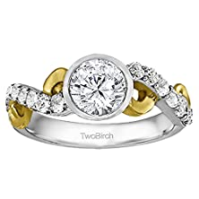buy 14K Two Tone Gold Bezel Set Infinity Halo Engagement Ring Bridal Set With Cz (1.89 Ct. Twt.)