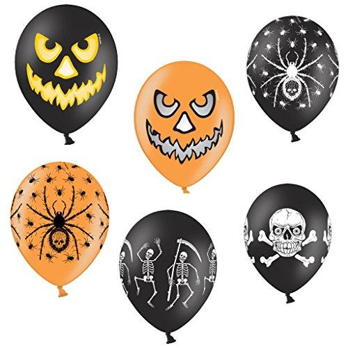 12 x Luftballons mit Halloween Motiven - gemischt (Spinne, Kürbis, Totenkopf, Skelett), Halloween - 12 Stück ( je 2 x Spinne Schwarz,Spinne Orange, Küris Schwarz, Kürbis Orange, Totenkopf & Skelett) - Heliumgeeignet - Halloween Mix - Luftballons Deko Party Halloween Fasching- Heliumgeeignet - Top Qualität - twist4®