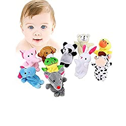 House of Quirk Cute 10pcs Animal Style Finger Puppets for ChildrenSchools Different Cartoon Animal Finger Puppets Soft Velvet Dolls Props Toys