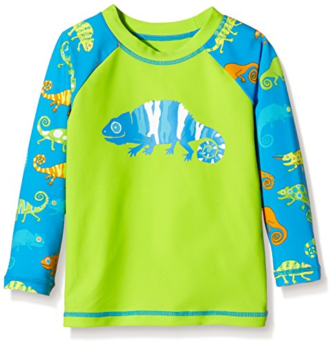 Hatley Little Boys Crazy Chameleons Rash Guard, Green, 3