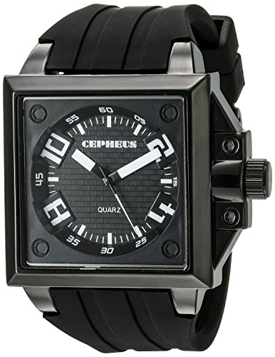 Cepheus Men's Quartz Watch with Black Dial Analogue Display and Black Silicone Strap CP904-622