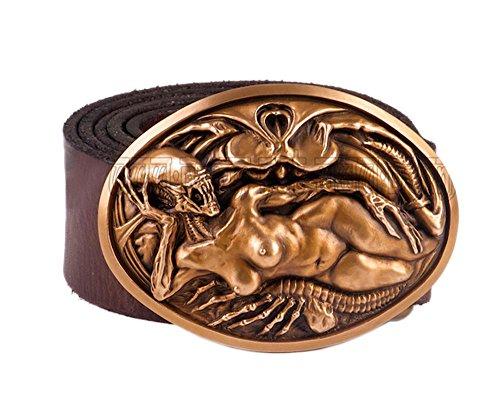 Handmade Fine Bronze Casting Alien VS Predator Sexy Alien Queen Men Belt Buckles with Cowhide Leather