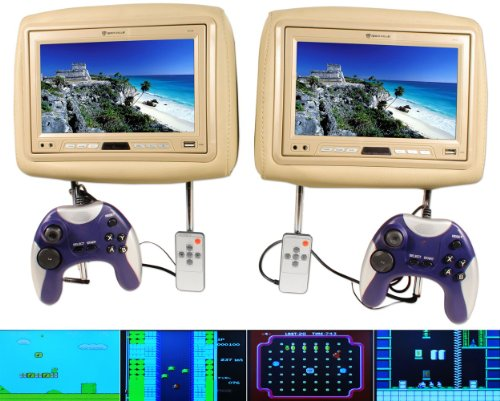 Rockville Rhg9-beige Pair of Beige/tan 9 Inch Headrest Monitor Package with Built in Video Games
