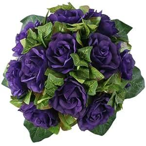 Amazon.com: Purple Silk Rose Nosegay - Bridal Wedding Bouquet: Home
