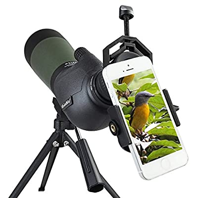 Gosky 20-60X 80 Porro Prism Spotting Scope- Waterproof Scope for Bird watching Target Shooting Archery Range Outdoor Activities -with Tripod & Digiscoping Adapter by Gosky