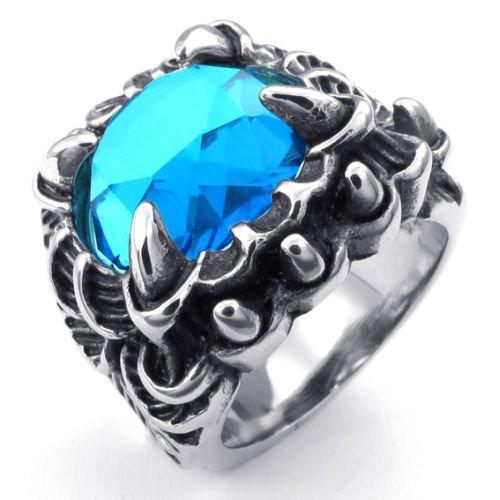 (キチシュウ)Aooazジュエリー メンズステンレスリング指輪 ブルーCZダイヤモンド入り悪魔の爪 サファイア シルバーとブラック 高品質のアクセサリー 日本サイズ21号(USサイズ10号)