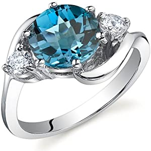 3 Stone Design 2.25 carats London Blue Topaz Ring in Sterling Silver Rhodium Finish Size 7