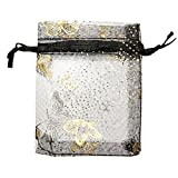 100Pcs Sheer Organza Jewelry Pouches Wedding Party Favor Gift Bags